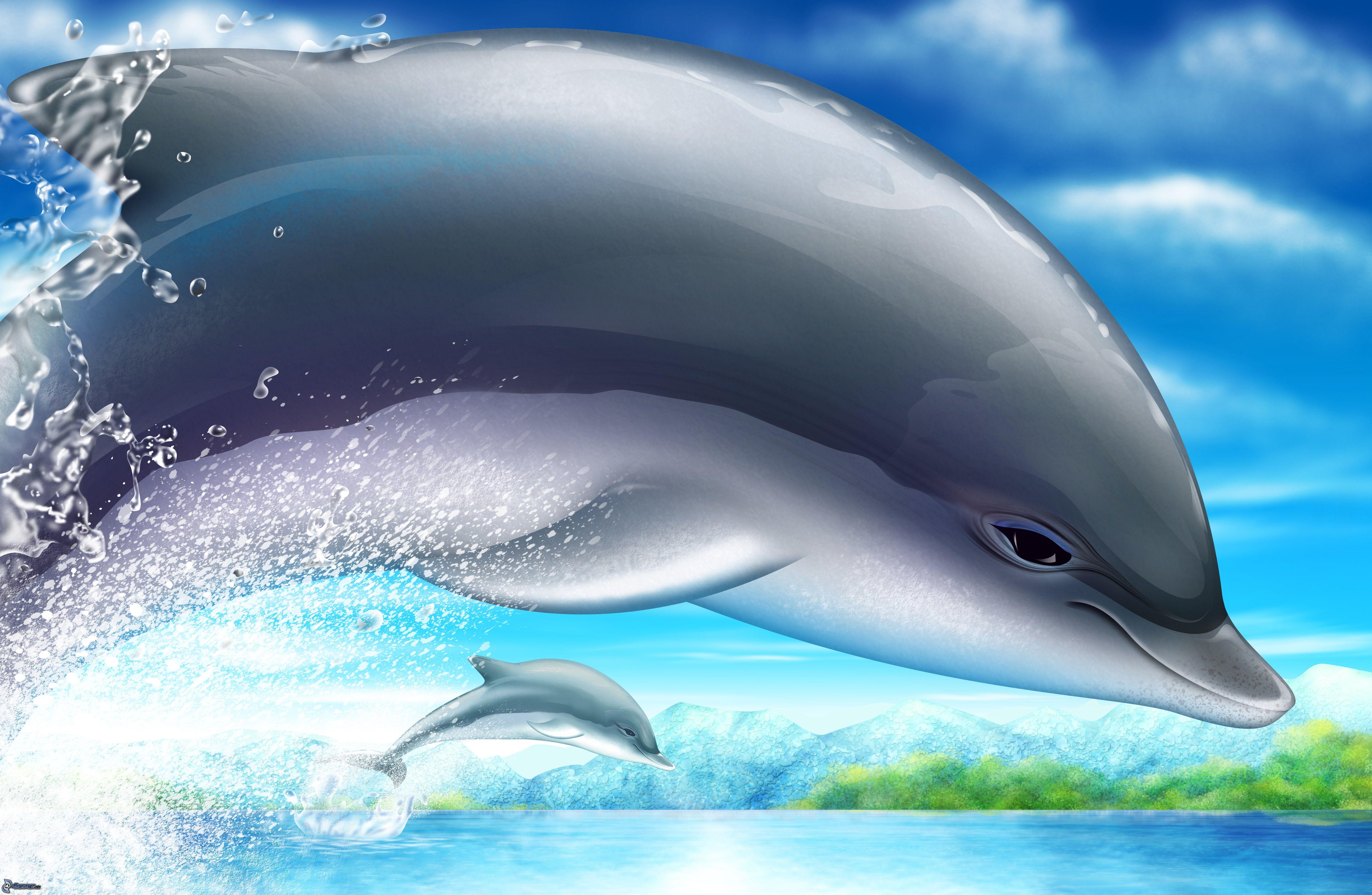 3D Дельфины картинки и бесплатные рисунки для рабочего стола.